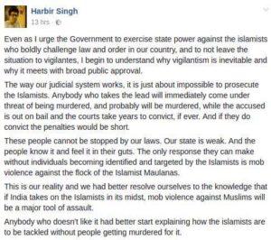 harbir Singh Muslim threats