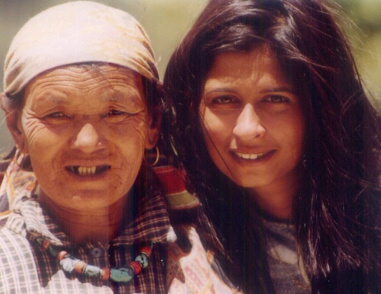 Vidyut and a local woman from the village Sethan, Manali