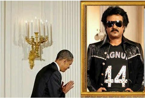 Obama worshipping Rajnikant