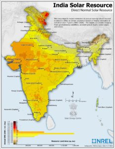 Direct Natural Irradiance - Annual averages map data from the Ministry for New and Renewable Sources of Energy
