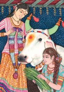painting of two women with sacred cow