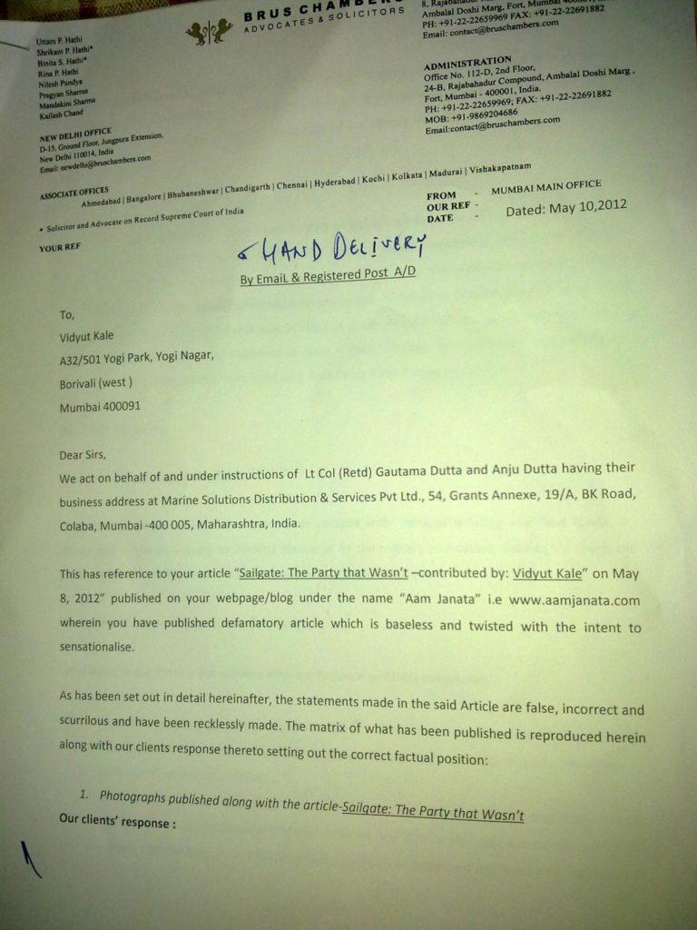 Sailgate: Letter from the solicitors of Lt Col (Retd) Gautama Dutta and Anju Dutta 1