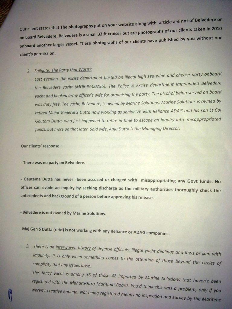Sailgate: Letter from the solicitors of Lt Col (Retd) Gautama Dutta and Anju Dutta 2