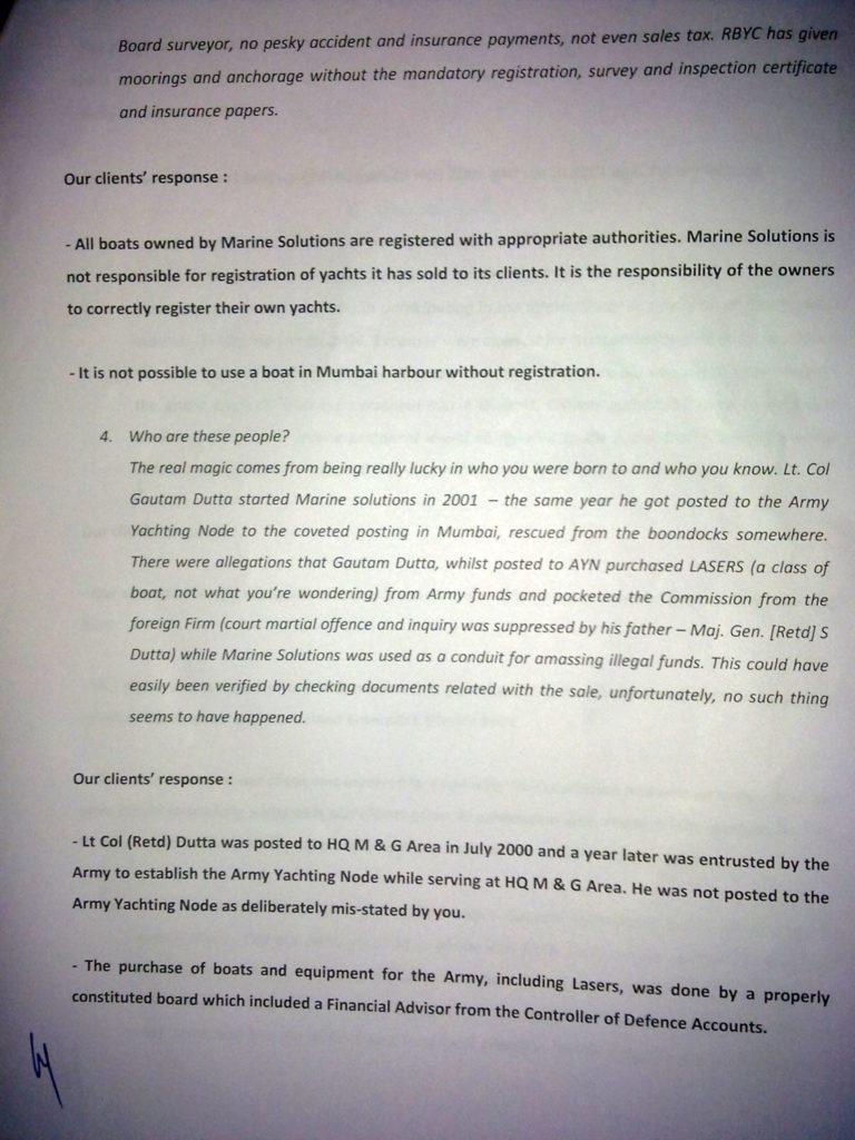 Sailgate: Letter from the solicitors of Lt Col (Retd) Gautama Dutta and Anju Dutta 3