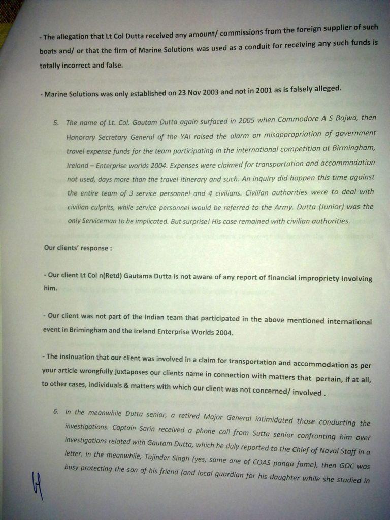 Sailgate: Letter from the solicitors of Lt Col (Retd) Gautama Dutta and Anju Dutta 4