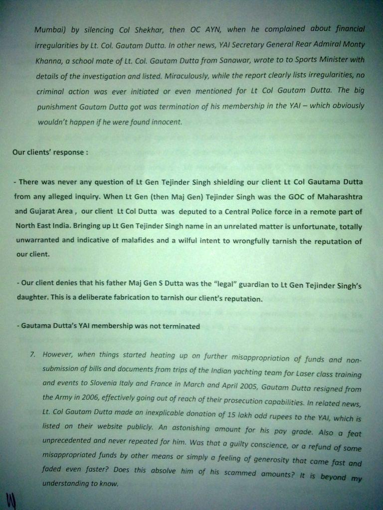 Sailgate: Letter from the solicitors of Lt Col (Retd) Gautama Dutta and Anju Dutta 5