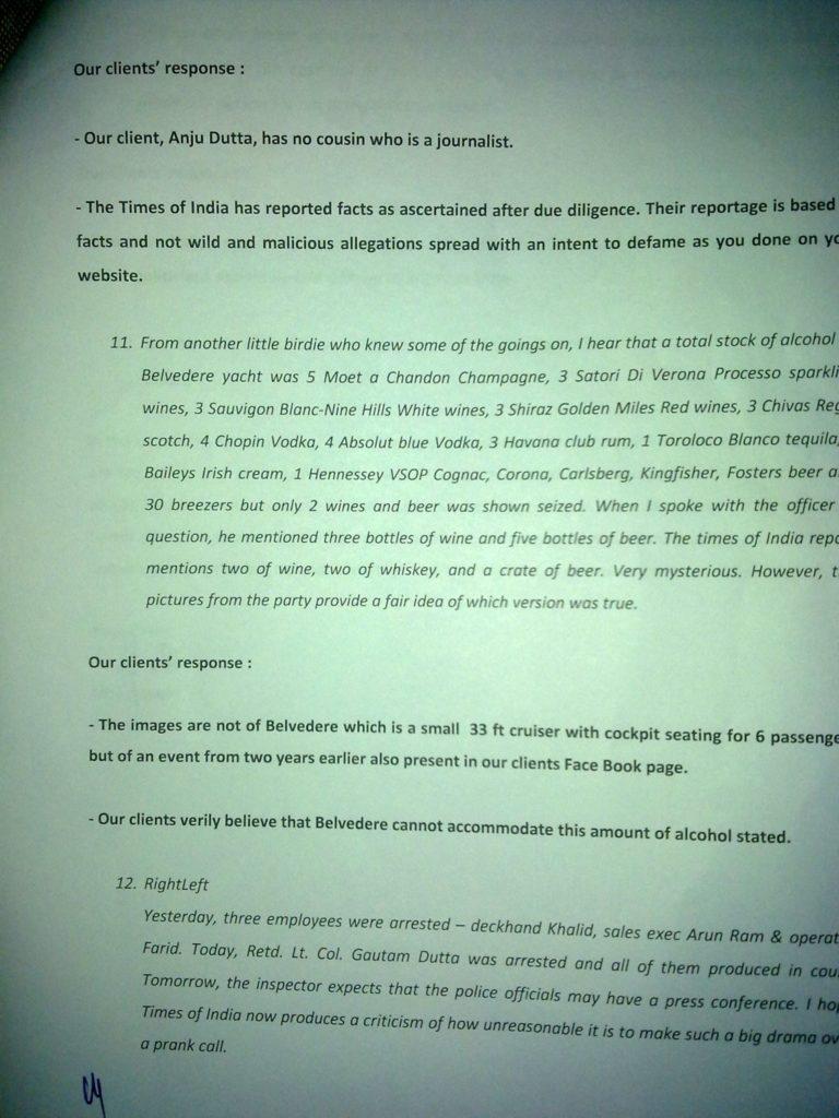 Sailgate: Letter from the solicitors of Lt Col (Retd) Gautama Dutta and Anju Dutta 8