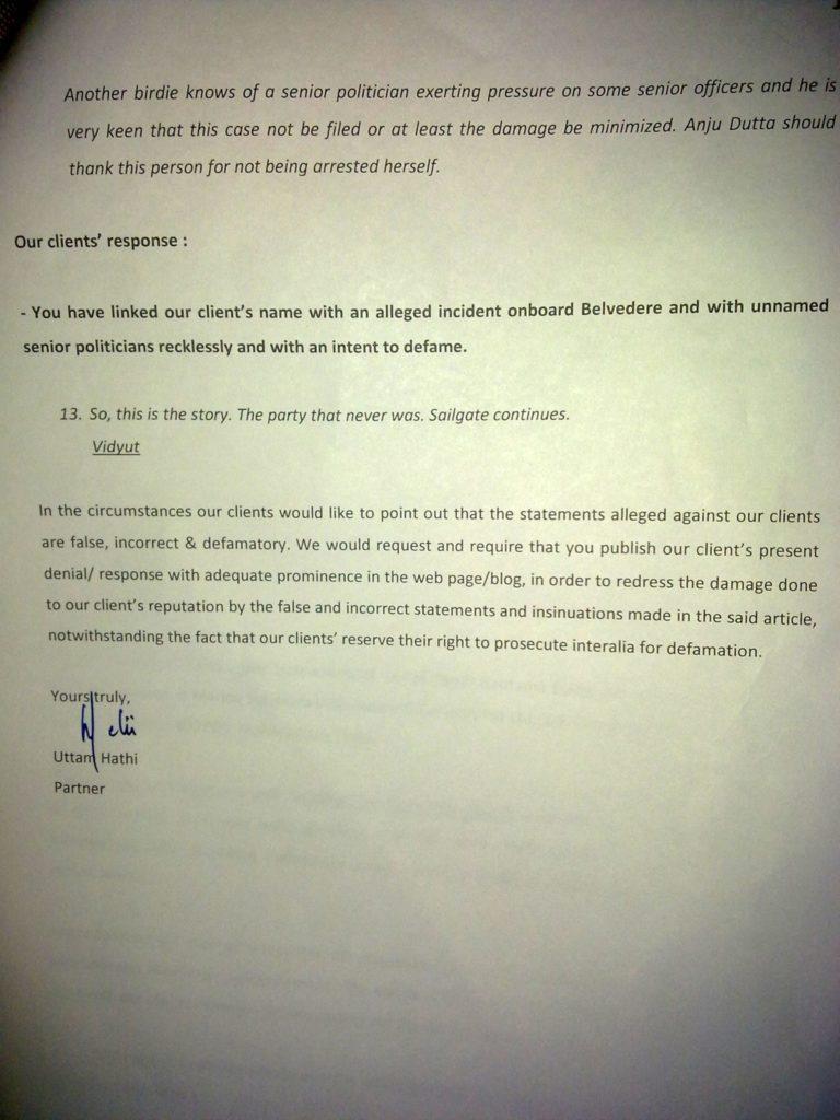 Sailgate: Letter from the solicitors of Lt Col (Retd) Gautama Dutta and Anju Dutta 9