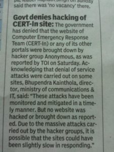 Press release by CERT in newspaper claiming their website was not hacked or brought down