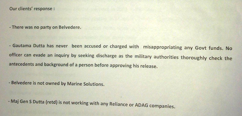 Sailgate: Reply to notice from Lawyers of Lt Col (retd) Gautama Dutta and Anju Dutta 2
