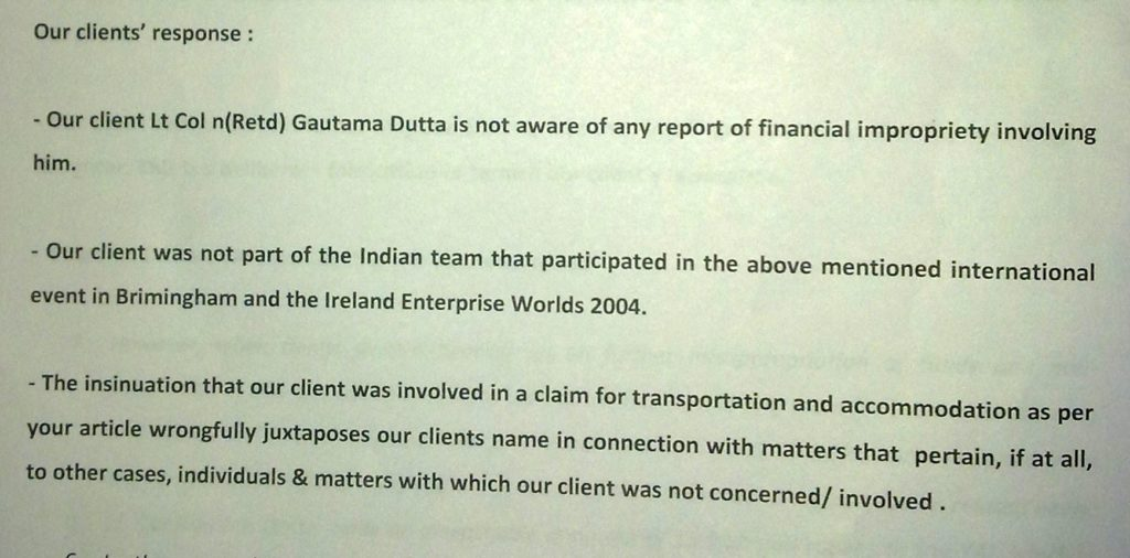 Sailgate: Reply to notice from Lawyers of Lt Col (retd) Gautama Dutta and Anju Dutta 6