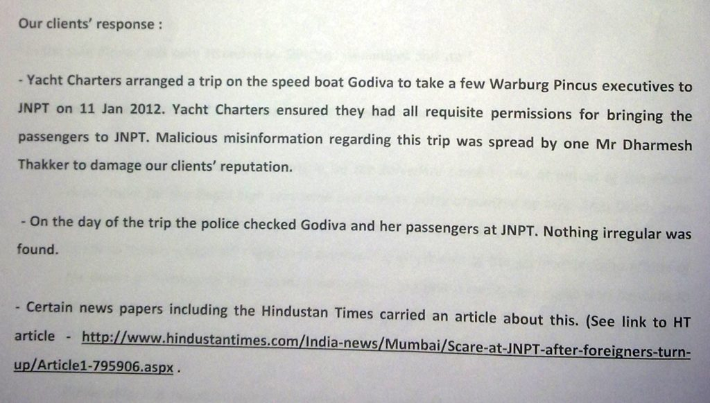 Sailgate: Reply to notice from Lawyers of Lt Col (retd) Gautama Dutta and Anju Dutta 9
