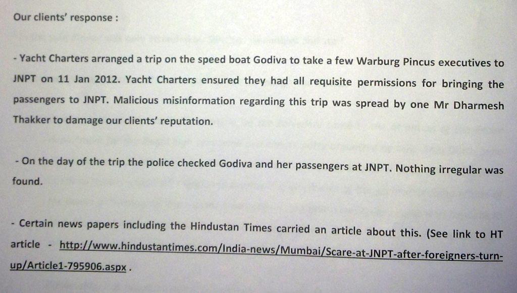 Sailgate: Reply to notice from Lawyers of Lt Col (retd) Gautama Dutta and Anju Dutta 9