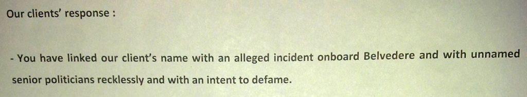 Sailgate: Reply to notice from Lawyers of Lt Col (retd) Gautama Dutta and Anju Dutta 13