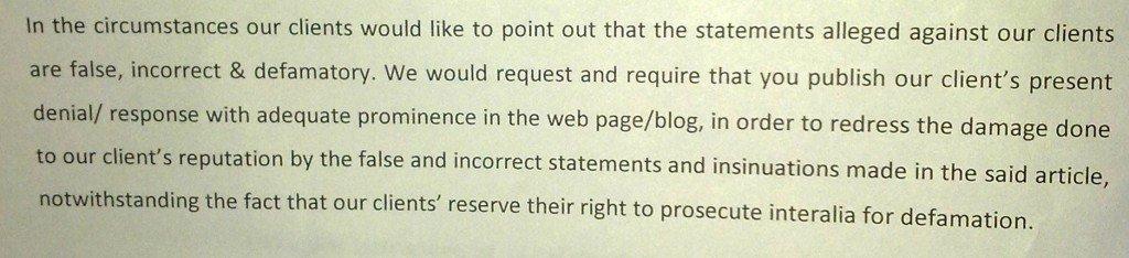 Sailgate: Reply to notice from Lawyers of Lt Col (retd) Gautama Dutta and Anju Dutta 14