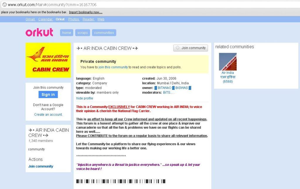 Air India Cabin Crew - Orkut Community
