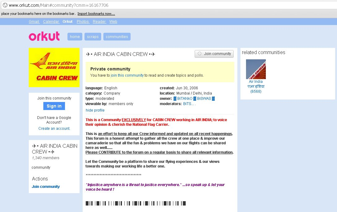 Air India Cabin Crew - Orkut Community