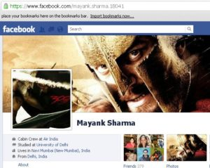 Mayank Sharma - profile page of Air India staff on Facebook
