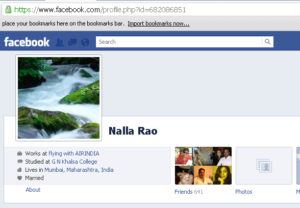 Nalla Rao - Profile page of Air India staff on Facebook