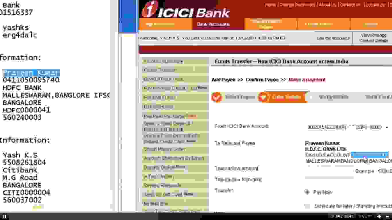 Screenshot from Yash's video for man in the browser attack for ICICI