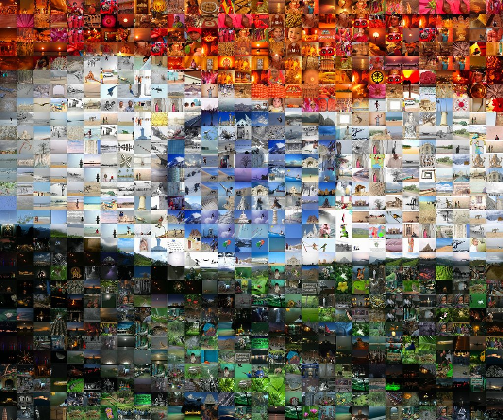 Indian flag created out of a collage of photographs by Dinesh Cyanam, based on his work with India - A multitude of people and cultures.