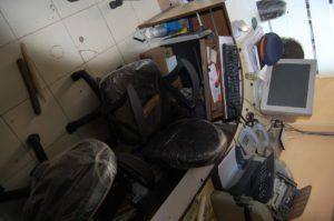 Smashed scanner and broken sticks left behind
