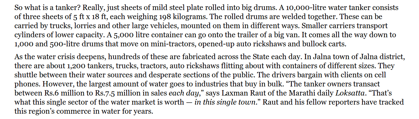 Screen capture from P Sainath's article in the Hindu that describes the Tanker Economy