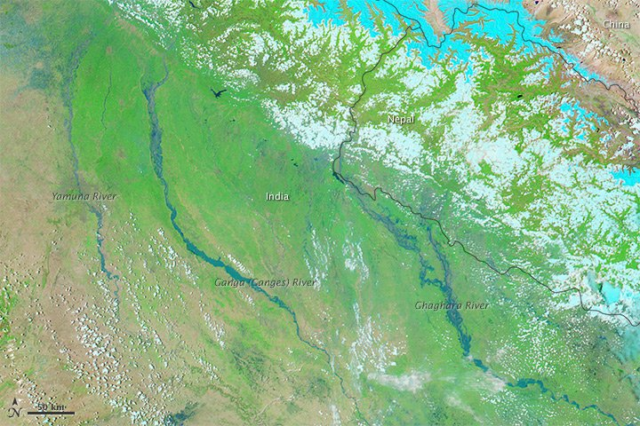 satellite image of area of uttarkashi flood 2013