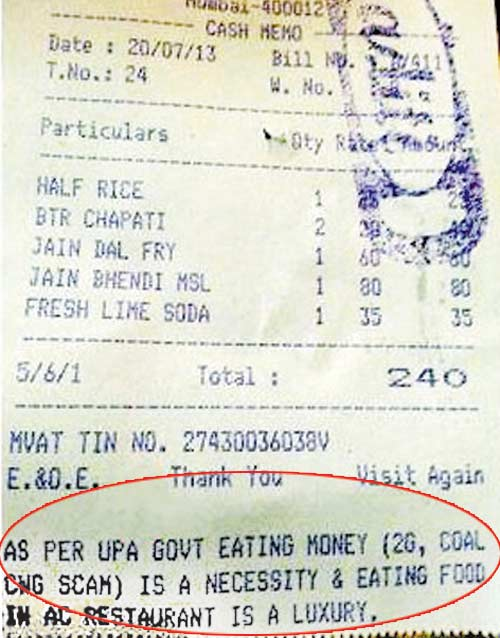 As per UPA, eating money (2G, Coal scam) is a necessity and eating food in an AC restaurant is luxury.