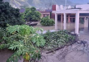 Government and residential buildings innundated with mud after the Uttarakhand flood