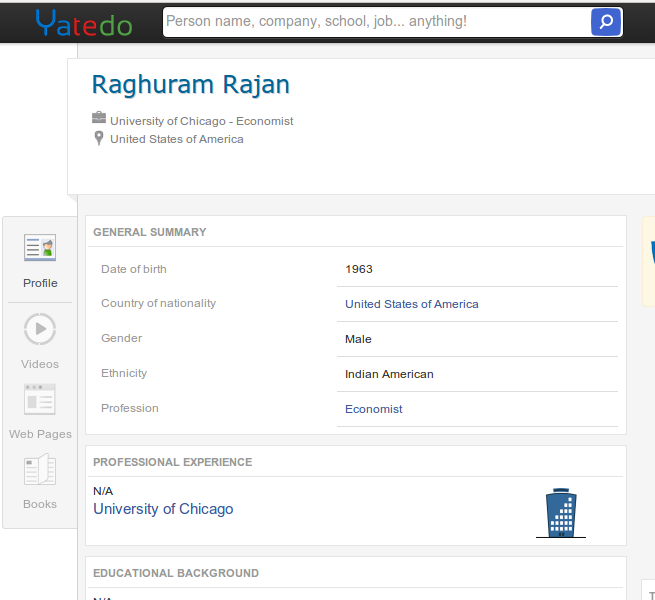 Raghuram Rajans profile stating his nationality as American with Indian ethnicity