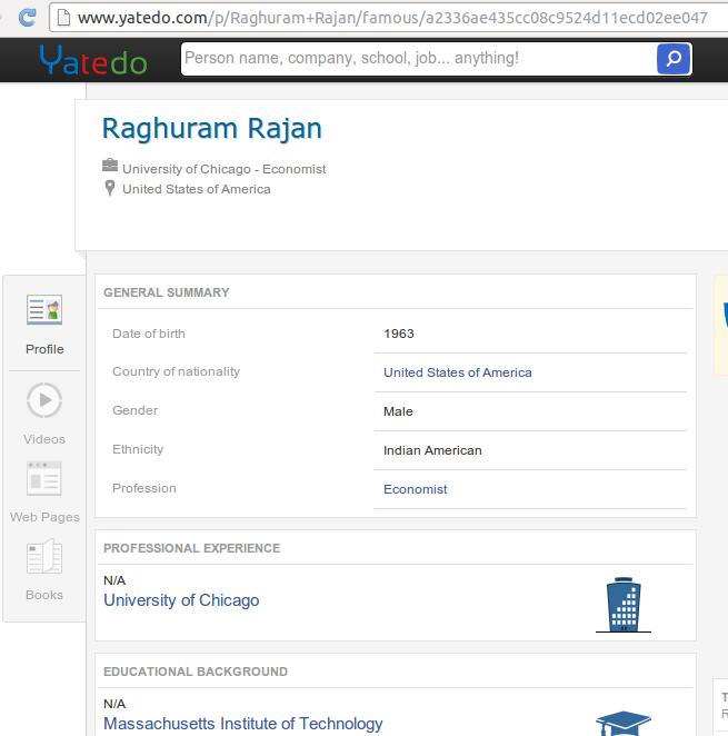 Raghuram Rajans profile stating his nationality as American with <strong class='StrictlyAutoTagBold'>Indian</strong> ethnicity