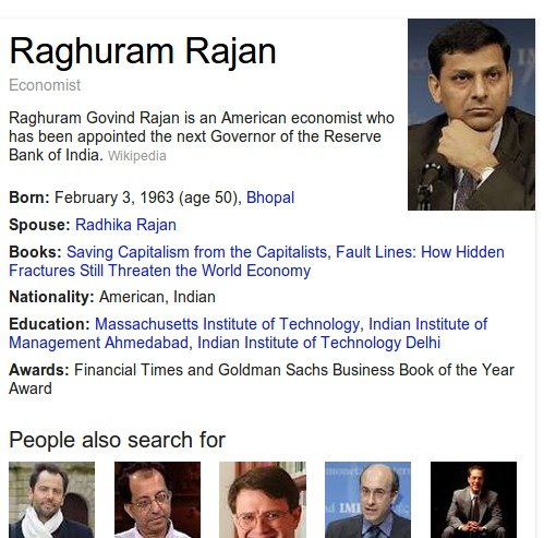 google search profile for Raghuram Govind Rajan