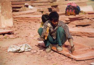 India : Architecture : Hawa Mahal, Jaïpur (Rajasthan) : stone cutter