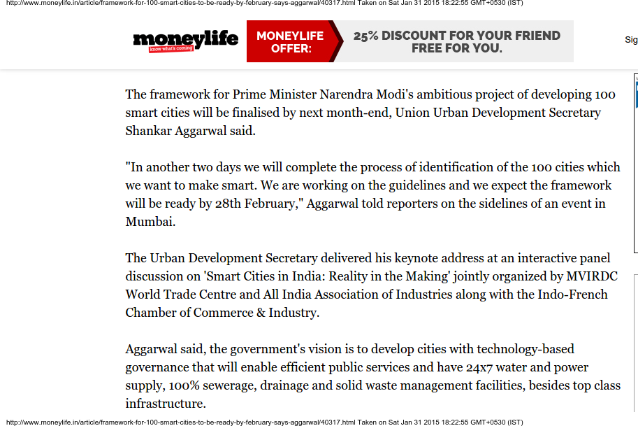 Framework for 100 smart cities to be ready by February says Aggarwal - Moneylife