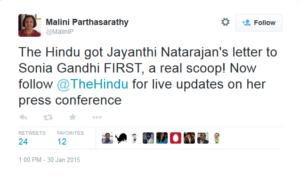Malini Parthasarathy on Jayanthi Natarajan letter published in The Hindu