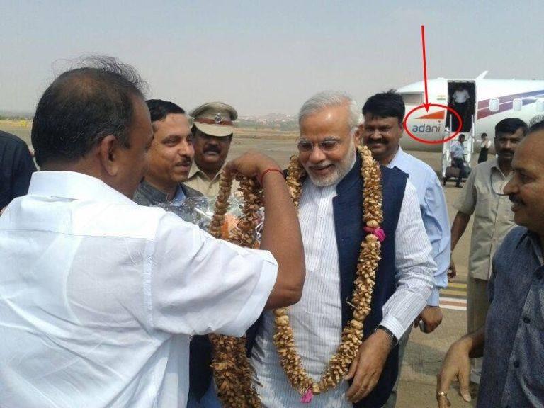 Modi travel's in Adani's plane