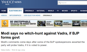 Modi says no witch-hunt against Vadra, if BJP forms govt