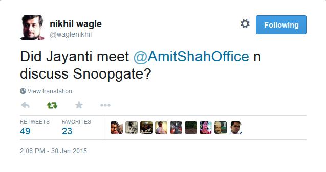 Nikhil Wagle on Jayanthi Natarajan meeting Amit Shah