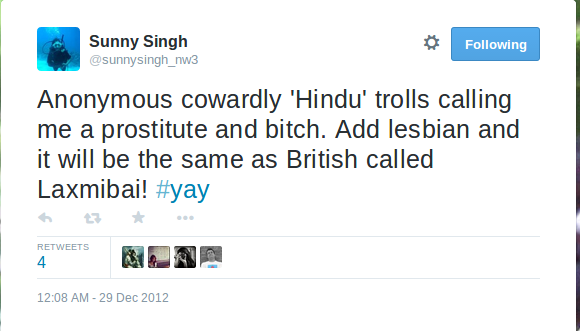 Sunny Singh on Twitter   Anonymous cowardly 'Hindu' trolls calling me a prostitute and bitch