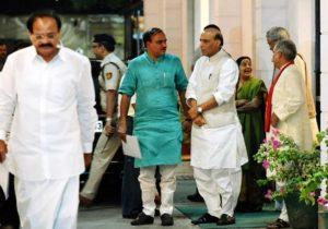 Union ministers Rajnath Singh, M Venkaiah Naidu, Sushma Swaraj and Anant Kumar at BJP headquarters in New Delhi