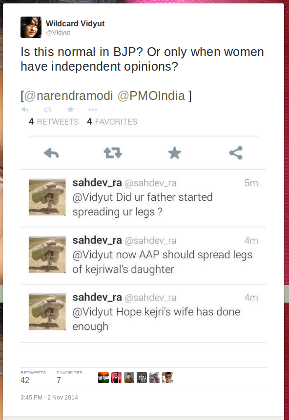 Wildcard Vidyut on Twitter   Is this normal in BJP  Or only when women have independent opinions  http   t