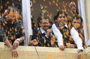 Victory celebrations begin in Aam Aadmi Party
