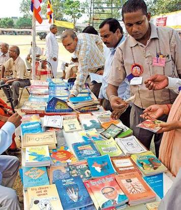 Book stall selling Ambedkar's works