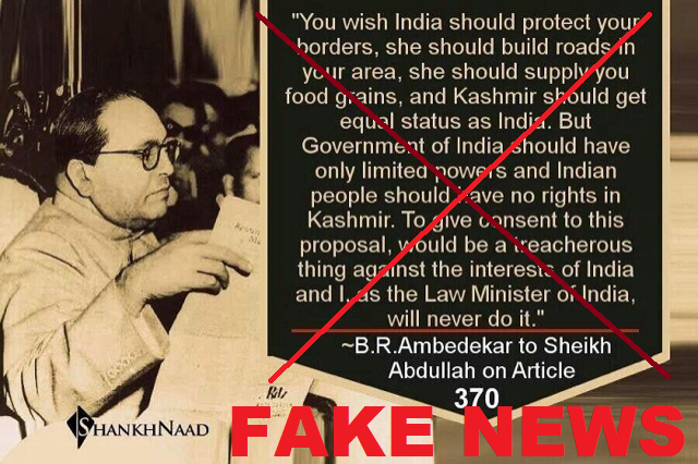 ambedkar kashmir fake quote