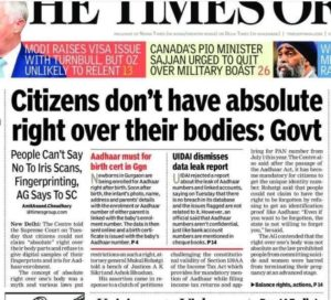 Citizens don't have absolute right over their bodies - Union Government of India