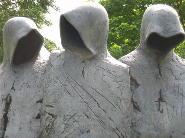 Detail from Cloister Conspiracy, a sculpture by Philip Jackson, pictured during his one man exhibition Sacred and Profane, at the Bishop's Palace in Wells, Somerset.