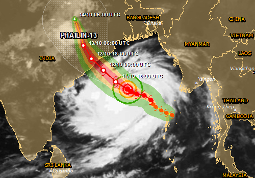 Global Disaster Alert and Coordination System predicts high humanitarian impact from Cyclone Phailin.