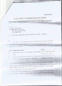 Election Commission reply to Milan Gupta's RTI seeking list of Members of National Council