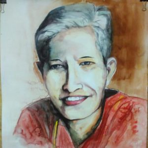Portrait of Gauri Lankesh by the students of Arts and Crafts College, Patna